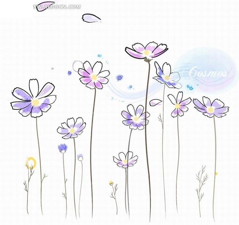 绘线条淡雅紫色小花ai素材免费下载_红动网