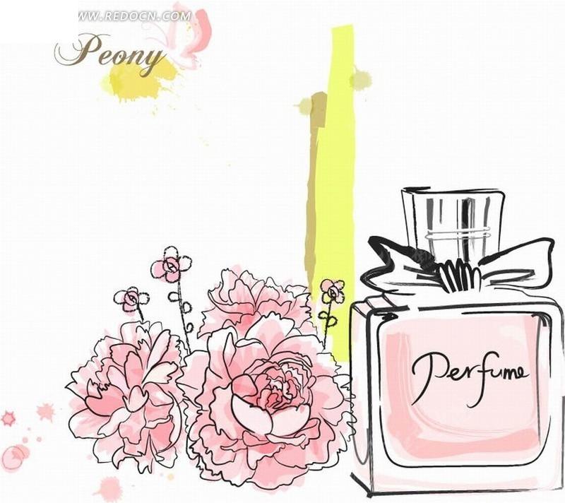 手绘线条粉红牡丹花及香水瓶