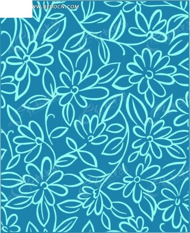 线描蓝色花朵叶子底纹背景