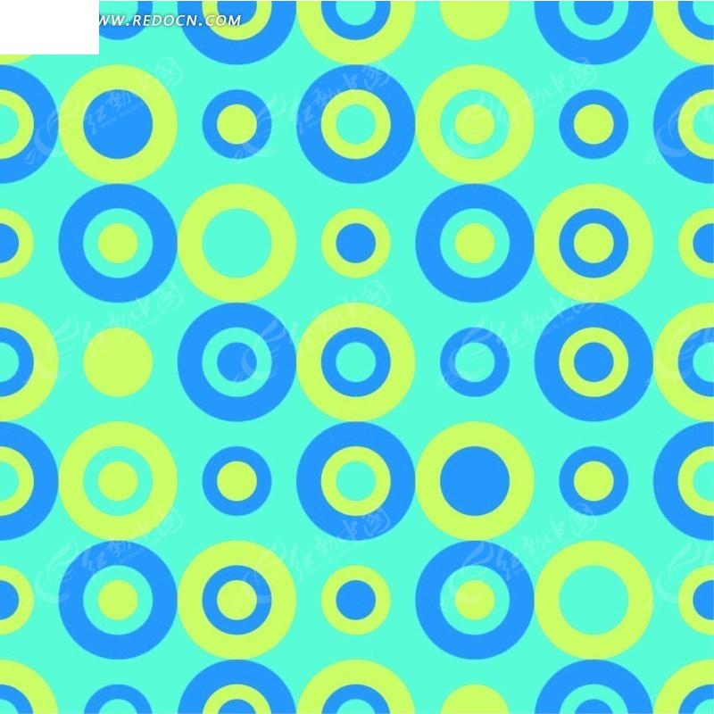 白色背景 蓝黄相嵌圆环 圆形 图案 平铺 边续 底纹 背景素材 矢量素材