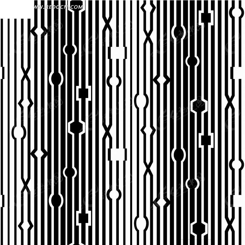 黑色背景上白色线条符合线构成的图案