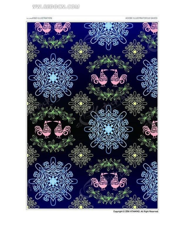 蓝黑渐变背景上卷曲花纹构成的图案