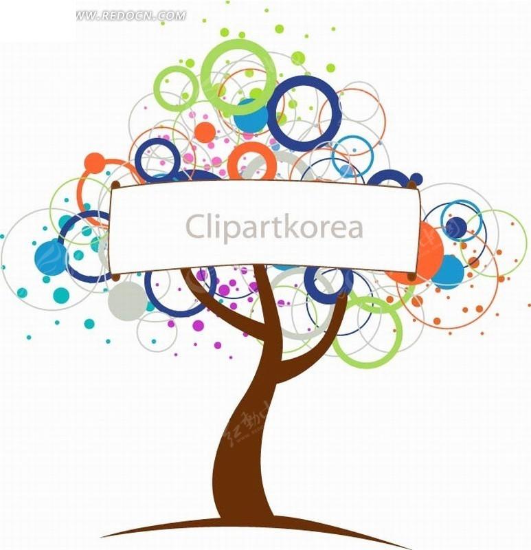 圆环长方形文本框创意树ai免费下载_印花图案素材图片