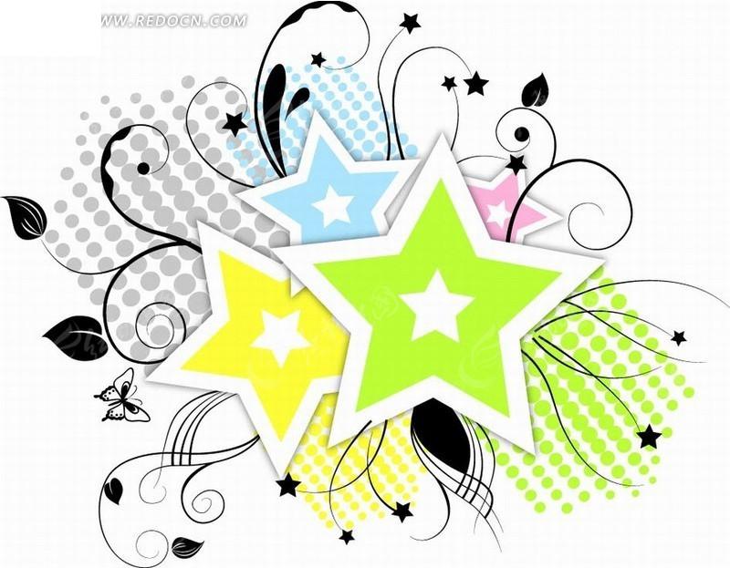 手绘绿色花朵花纹边框插 美丽的花纹边框插画 插画花纹边框—黑色枝条