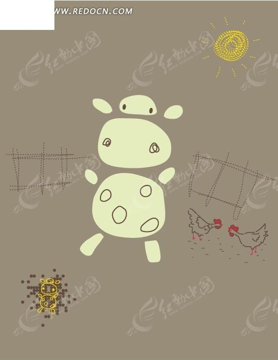 手绘农场卡通奶牛图案
