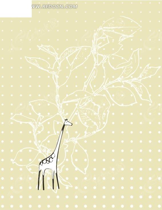 手绘线条叶子长颈鹿