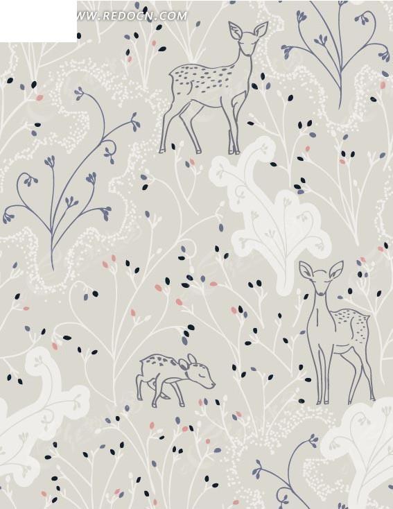 动物插画茂密森林绿树中的梅花鹿和小鹿