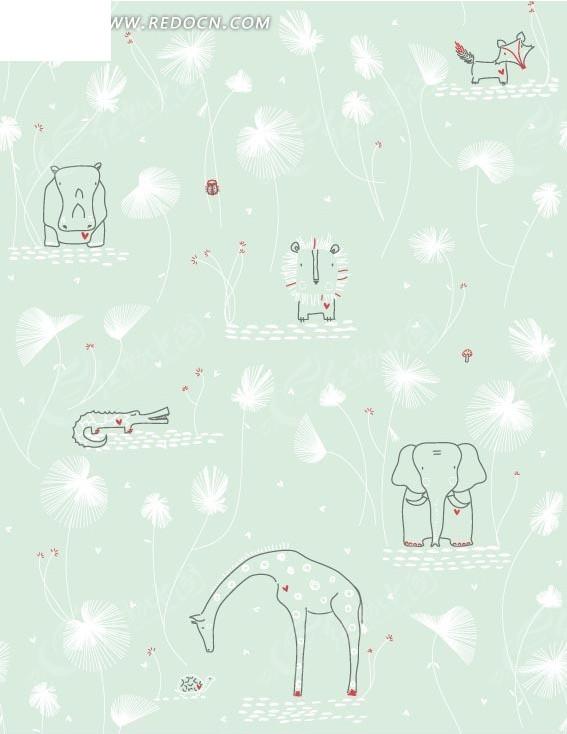 鳄鱼海马狮子和长颈鹿图案背景图片