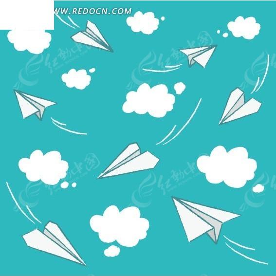 飞机 白云 蓝色背景 连续 底纹 背景素材 矢量素材  印花图案