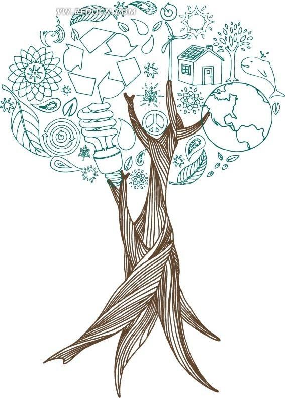 灯泡简笔画-手绘灯炮地球房子组成的树木矢量素材EPS免费下载 编号
