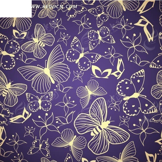 艺术背景插图手绘线条的飞舞蝴蝶矢量图