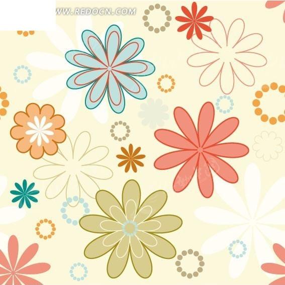 黄色背景上的手绘各色花朵和圆圈