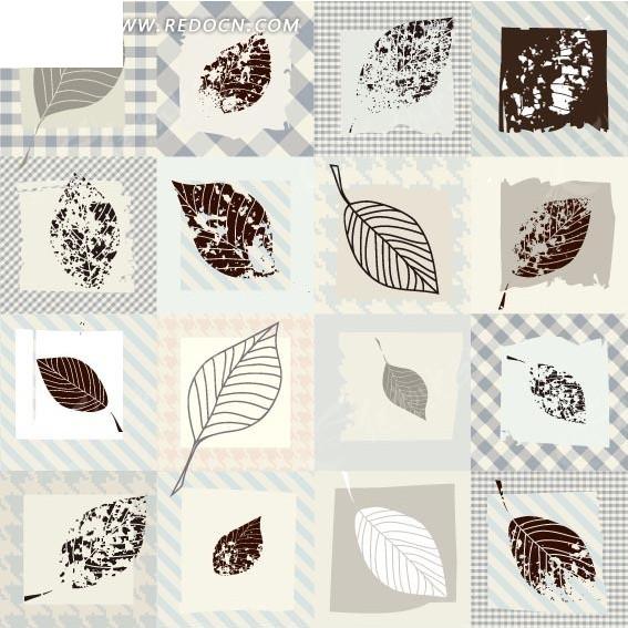 方框和手绘叶子矢量图_印花图案
