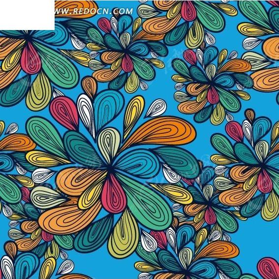 蓝色背景前的手绘彩色美丽花朵