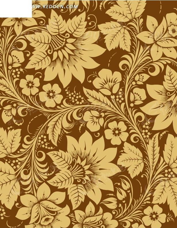 棕色背景上的手绘漂亮的棕色开花枝条