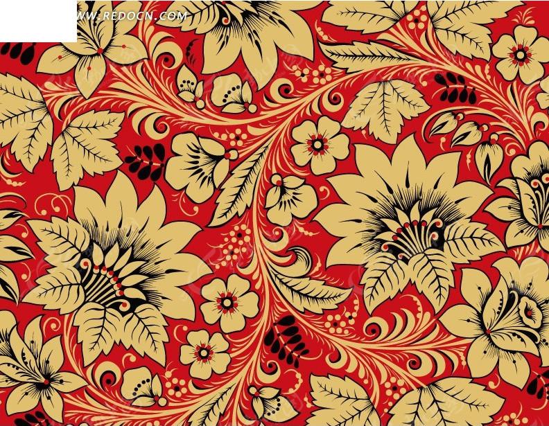 红色背景 棕色枝条 手绘枝条 叶子 花朵 植物  花纹 花纹素材 花边