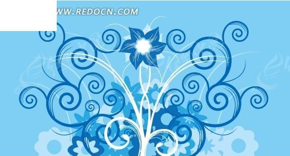 植物插画—蓝色背景上的蓝色白色枝条和花朵