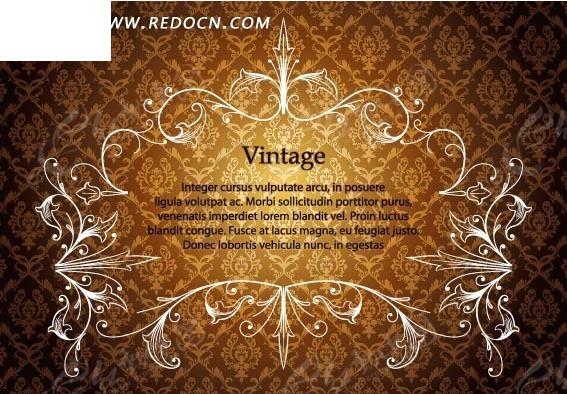 古典花纹背景 棕色背景 精美边框 白色花纹边框 印花图案 矢量素材
