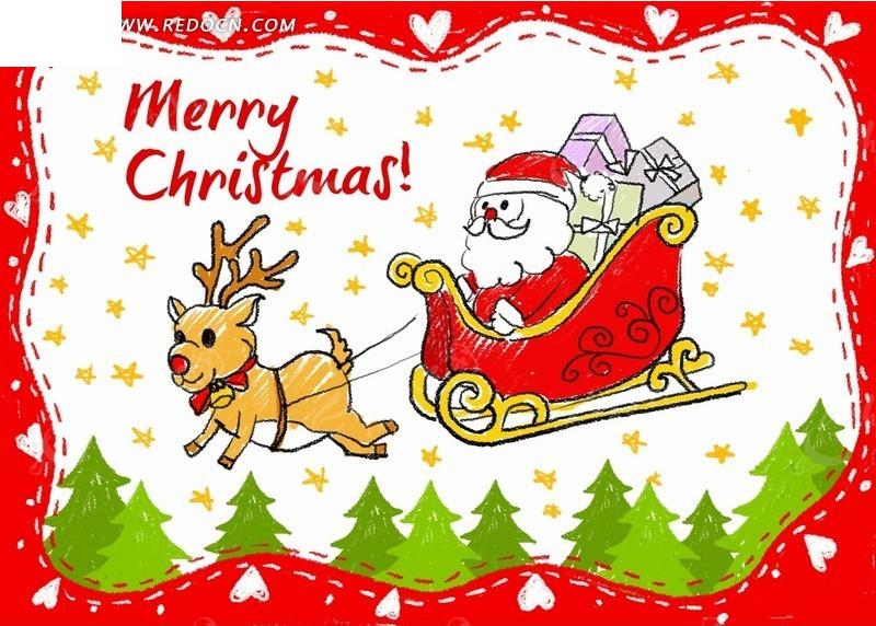 拉着雪橇内圣诞老人的麋鹿PSD素材免费下载 编号1880458 红动网