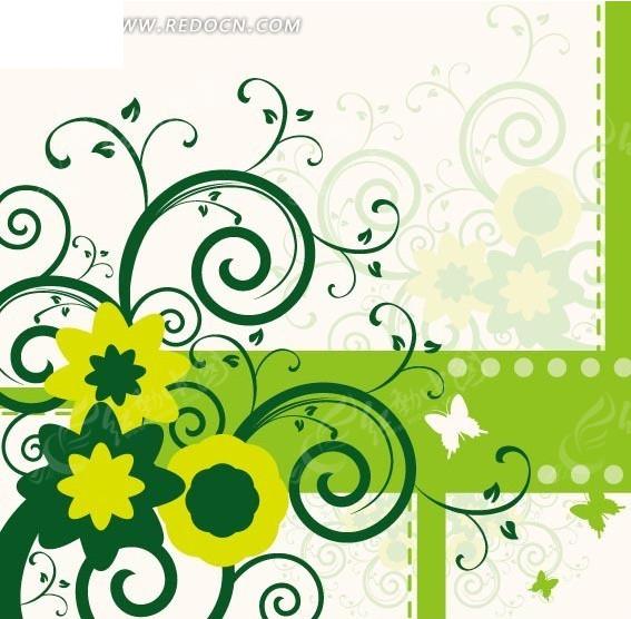 花纹和花朵以及蝴蝶插画矢量图 印花图案