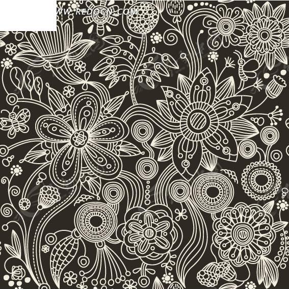 深灰色背景上的手绘枝条和花朵以及圆环