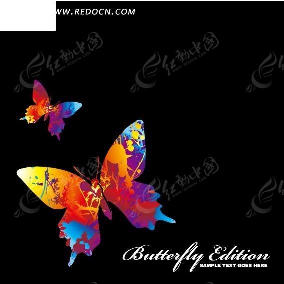 手绘艺术插画七彩斑斓的飞舞蝴蝶图片