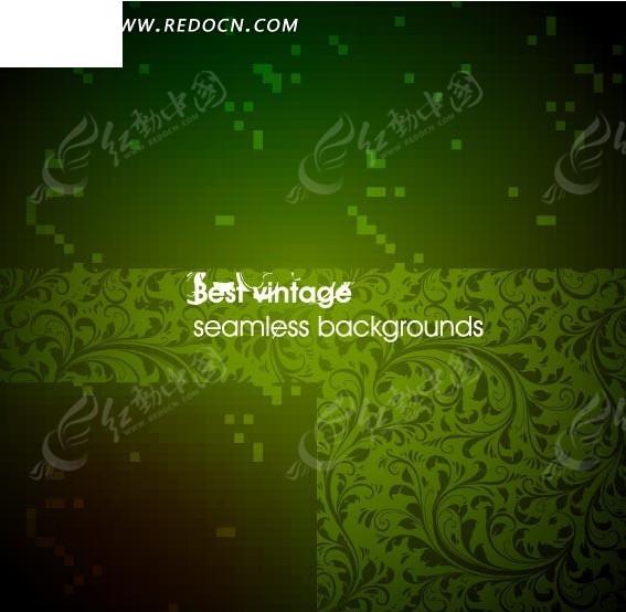 绿色欧式植物花纹背景底纹图片; 绿色花纹背景素材 [矢量图.eps];