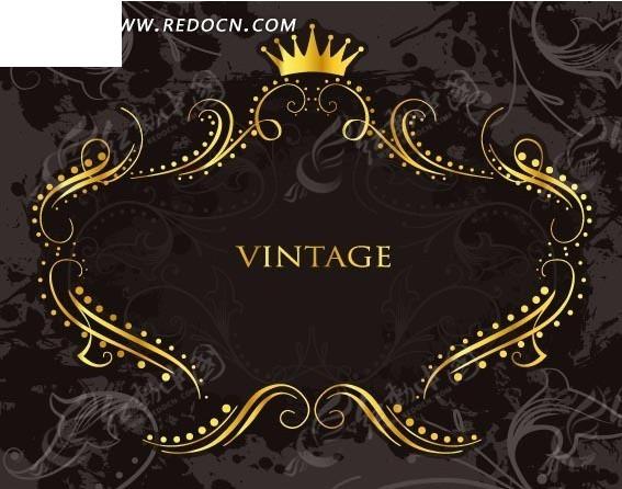 金色皇冠欧式花纹边框图片