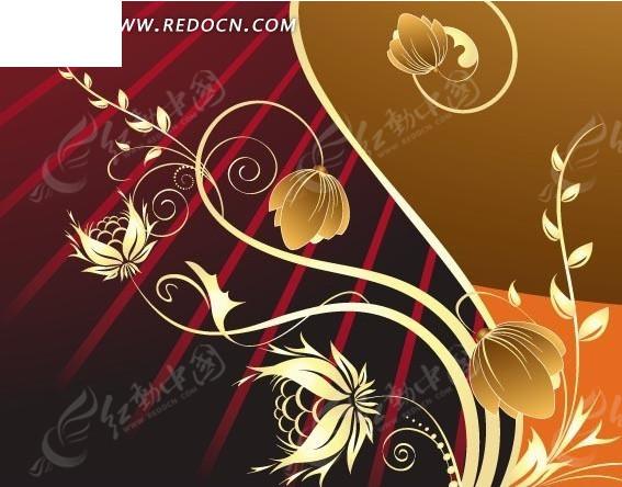 红色和棕色橙色背景以及黄色渐变插画枝条