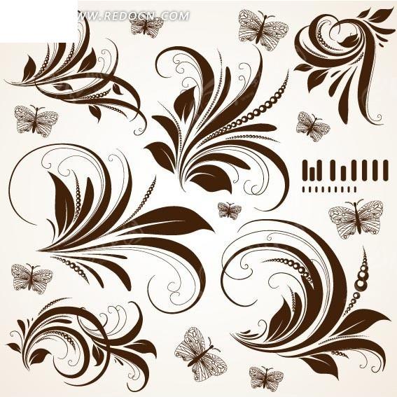 咖啡色欧式花纹蝴蝶设计图片;图片