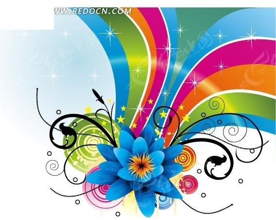 花纹同心圆黑花纹蓝花朵画