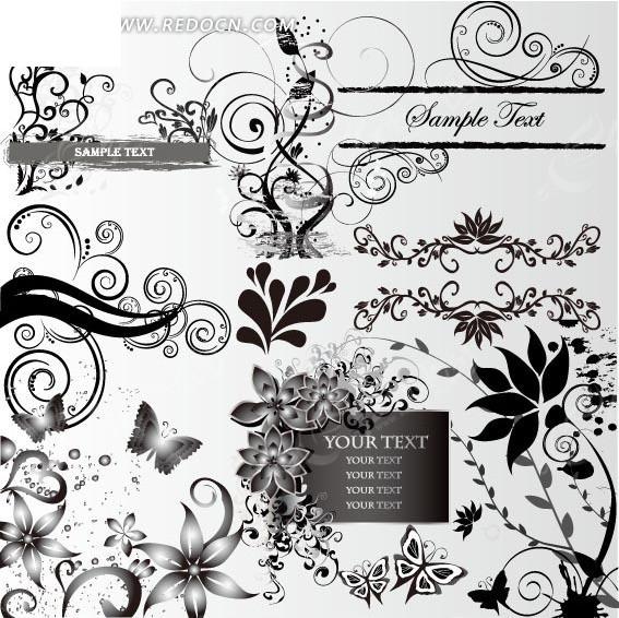 黑白精美蝴蝶装饰花纹边框