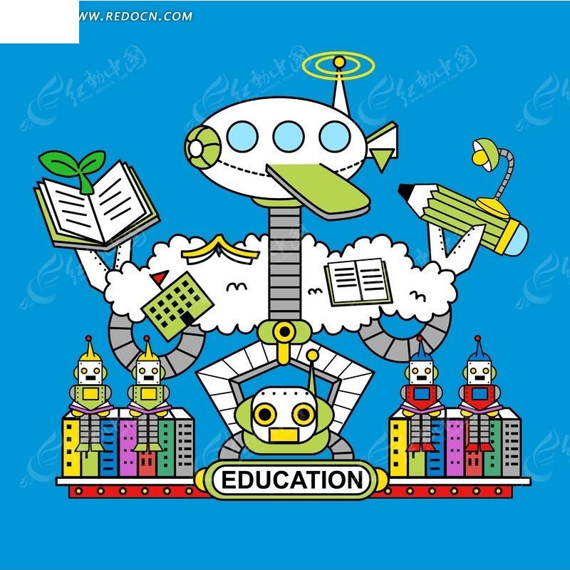 卡通机器人 教育主题机器人
