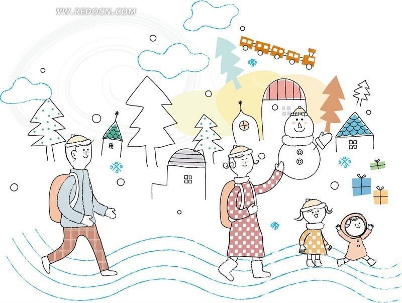 背着书包送孩子们上学的爸爸卡通插画矢量图