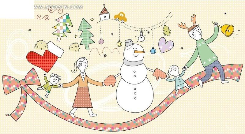和雪人手牵手走在蝴蝶结上的一家人卡通插画