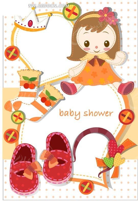 免费素材 矢量素材 矢量人物 卡通形象 插画—女孩袜子鞋子和心形  请