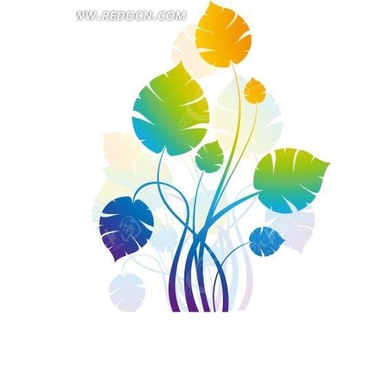 植物插画—彩色渐变的枝条和叶子矢量图_花纹花边
