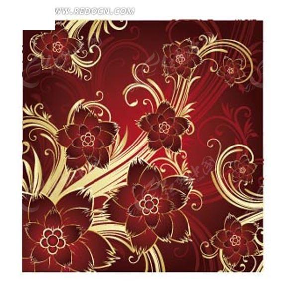 底纹—红色渐变背景上的花朵和黄色枝条构成的图案