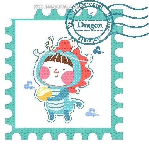 手绘十二生肖蛇邮票