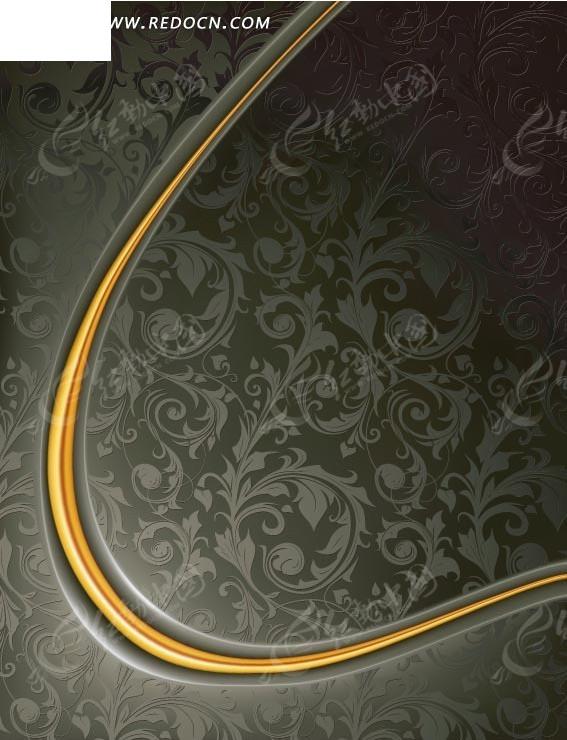 金色弧形欧式花纹背景底纹