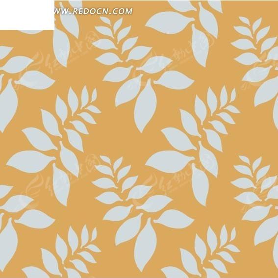 黄色背景 漂亮 淡蓝色枝叶 叶子 图案 背景素材 花纹 花纹素材 花边