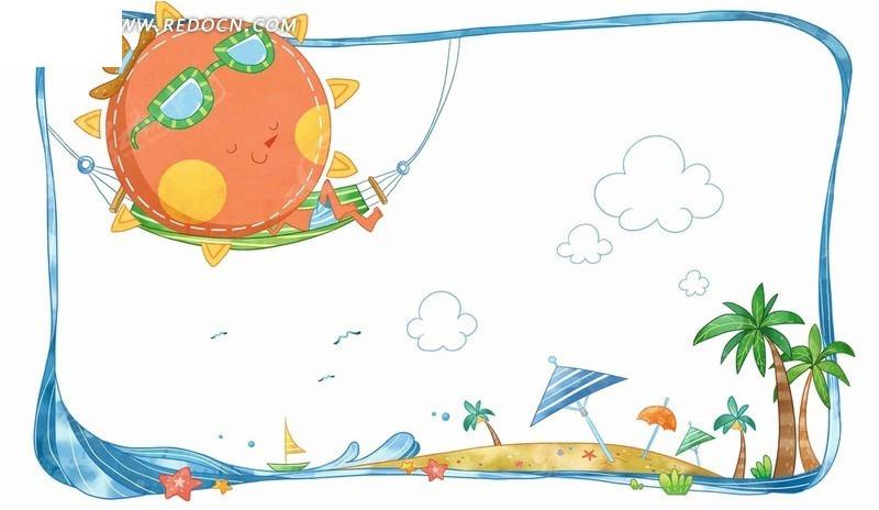 海滩美景和吊床上的太阳插画psd分层素材