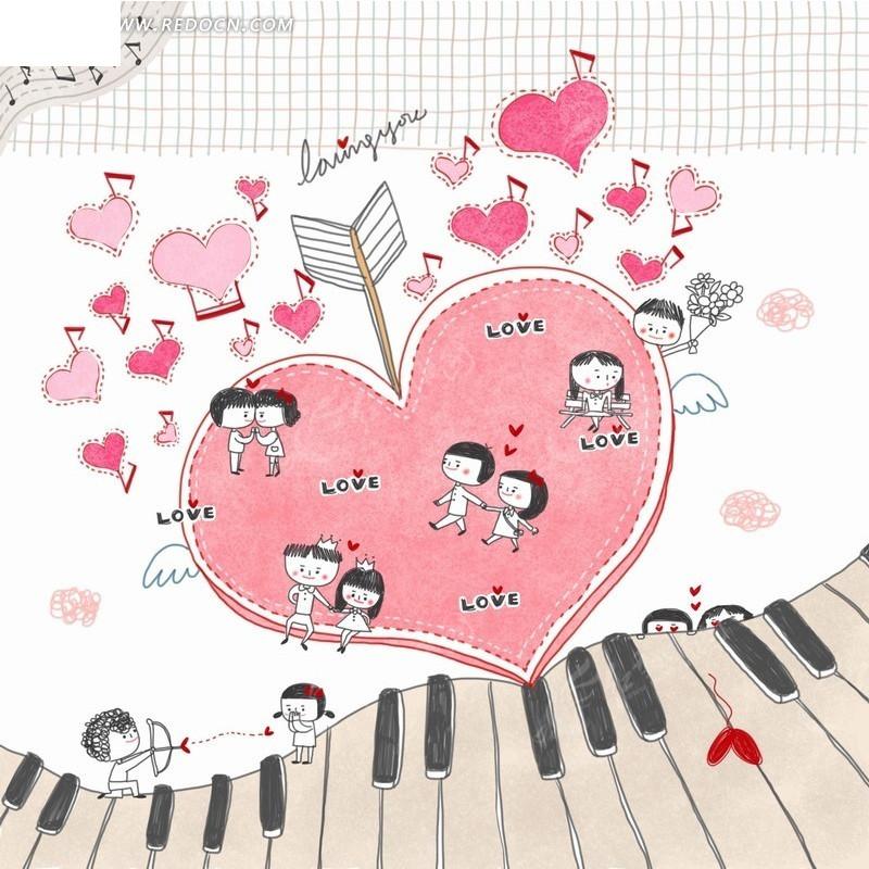 琴键上的心形和情侣插画psd分层素材图片