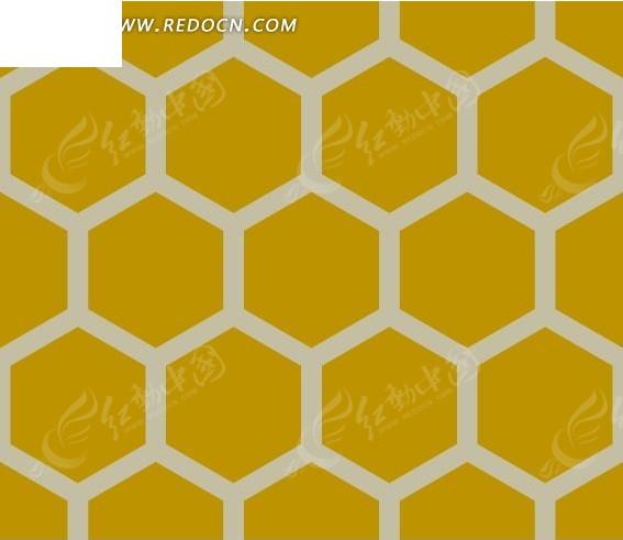 底纹—黄色六边形构成的蜂窝图案