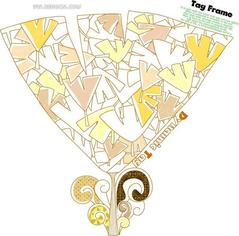 手绘大小银杏叶构成的银杏叶矢量图 印花图案 -手绘大小银杏叶构成的