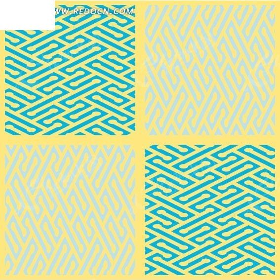 黄色背景上的四格蓝色和淡蓝色迷宫图案