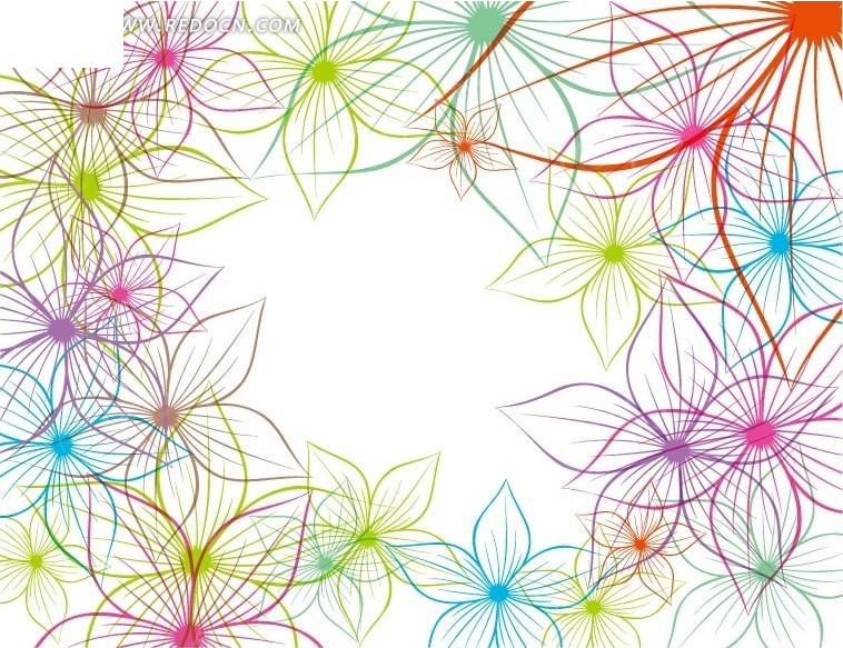 手绘 彩色线条 花朵 植物  边框 相框 矢量素材