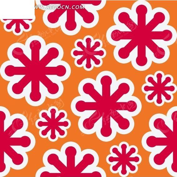 橘色背景上的粉色雪花构成的图案