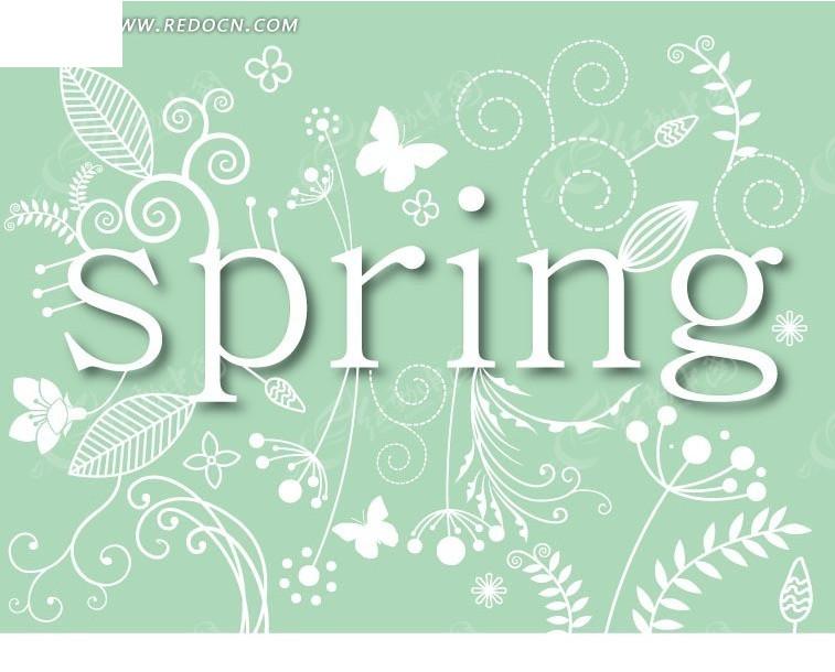 淡蓝色背景上的花朵和叶子字母构成的图案