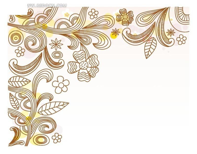 手绘棕色线条的叶子和花朵